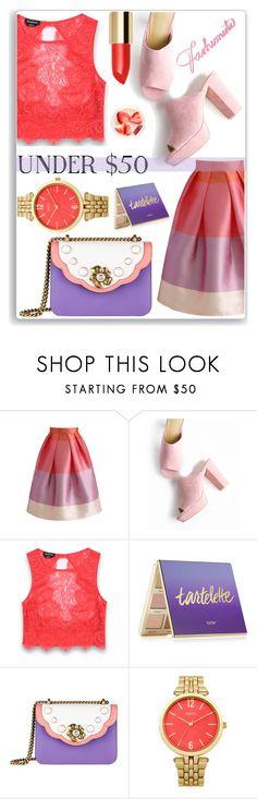 """""""Skirt under $50"""" by thestrawberryfields ❤ liked on Polyvore featuring Chicwish, Bebe, tarte, Gucci, Oasis, under50, polyvorecontest and skirtunder50"""