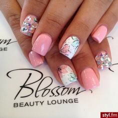 -- light pink, flowers and gems. So girly it's amazing.