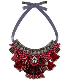 Burgundy. #fashiondilemma #motilostylist #whattowear #howtowear #trend #burgundy #colour #trendoftheweek Opulent Beaded Necklace by #MatthewWilliamson.