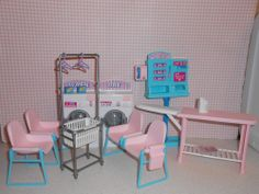 Barbie LAUNDRY MAT play set WASHER DRYER clothes basket iron EXTRA CHAIRS! NEW!