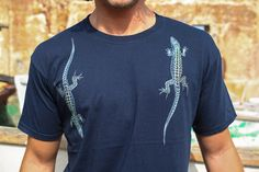 Blue lizard-T- shirt men's apparel Cotton.LIZARD graphic Digital print T-shirts blue,black tank color. gift for him