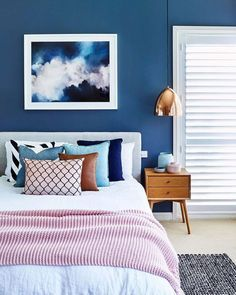 dreamt up this cosy bedroom colour scheme, featuring a stormy cloud artwork from that sets the tone for… Blue Bedroom Walls, Cosy Bedroom, Accent Wall Bedroom, Dream Bedroom, Home Decor Bedroom, Blue Walls, Dark Blue Rooms, Blue And Gold Bedroom, Bedroom Artwork