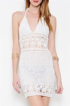 A beautiful white knit dress halter tie-back. Cutout crochet detailing all throughout. Cute over a bikini Very beautiful and sexy! Crochet Beach Dress, Crochet Bikini, Crochet Dresses, Blouse Dress, Knit Dress, Dress Up, Swimwear Fashion, Crochet Clothes, Dress Patterns