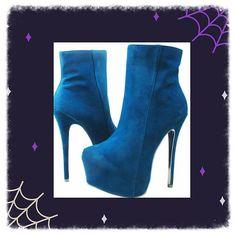 Blue suede like booties - 6 inch heel with 3 inch hidden platform. ONLINE now! #myshoehaul #booties #shoehaul #shoehaulstore #heels #platforms #stilettos #fashionbooties #fashion #shoponline