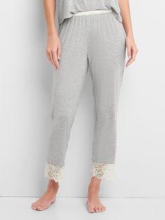 Gap Womens Modal Lace Sleep Pants Light Heather Gray