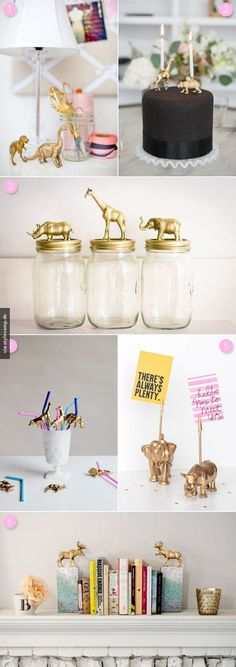 || golden animal mason jar toppers || cute dorm deco