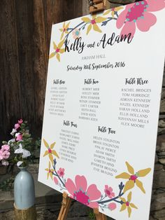Flower Candy wedding seating plan - www.lilyandjacksstudio.com