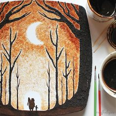 He uses leftover drops from his morning coffee. Artist Creates Watercolor Coffee Art On Leaves Coffee Artwork, Coffee Painting, Scenery Pictures, Coffee Illustration, Wood Burning Art, Tea Art, Painted Leaves, Latte Art, Art Festival