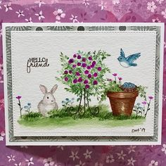 Art Impressions Wonderful Watercolor: handmade card with bunnies, birds, containers, flower pot, flowers, foliage, grass