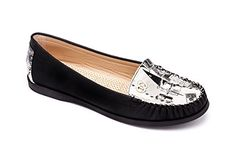 MACHI Womens CITILY1 BLACK PU Moccasin 7 -- Check out the image by visiting the link.