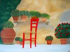 Quadro-dipinto-olio-su-tela-La-sedia-rossa-30-x-40-cm-artist-S-Lorant