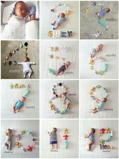 Baby monthly milestone pictures are great way to see how your baby grows up. It's great to look back on baby pictures and see how little they once were and share with family and friends. We found baby monthly milestone pictures to inspire you. Monthly Baby Photos, Baby Monthly Milestones, 1 Month Baby Milestones, Baby Milestone Chart, Funny Baby Photos, Baby Girl Photos, The Babys, Baby Monat Für Monat, Milestone Pictures