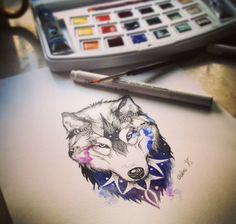 Watercolour/ Galaxy wolf design