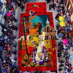 """During HolyWeek all the streets in Guatemala are decorate by colorfull handmade carpets. The carpet shown at this article is a Master Piece and is dedicated to Jesus de la Merced in his procession """"La Reseña"""". Guatemalan Art, Native Country, Arte Popular, Corpus Christi, Sacred Art, Mother Mary, Art Of Living, Beautiful World, Custom Design"""