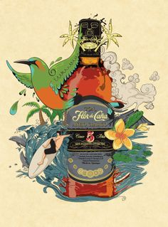Rum Flor de caña illustration