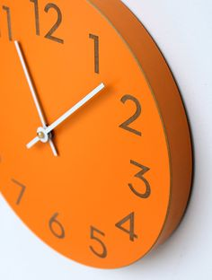 orange spice wall clock with modern numbers by uncommon on Etsy, $65.00