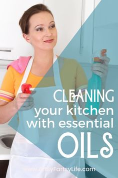 I love using essential oils for cleaning! Here are my best ideas for homemade cleaners using natural ingredients and essential oils. Includes recipes and tips for deep cleaning your kitchen!