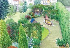 Ein sehr langer und schmaler Garten soll Struktur erhalten und kindgerecht werden. Wir haben zwei Vorschläge, inklusive Pflanzplänen und Einkaufsliste zum Herunterladen. #inspiration #garten #gartengestaltung