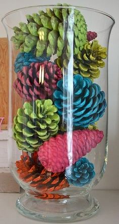 spray-painted pine cones...i'd paint 'em white.