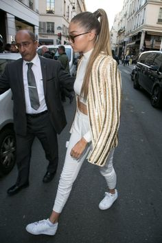 Gigi Hadid Wearing Sneakers | POPSUGAR Fashion