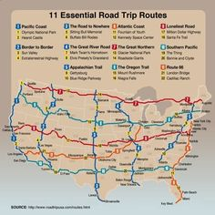 Essential road trip routes from roadtrip usa.definitely on the bucket list Road Trip Usa, Usa Roadtrip, Route 66 Road Trip, East Coast Road Trip, Route 66 Map, College Road Trip, East Coast Travel, Usa Trip, Pacific Coast Highway