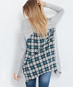 Heather Gray & Teal Plaid-Back Tunic