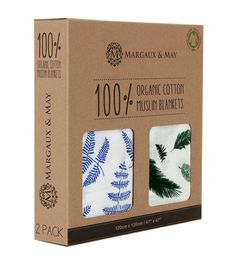Margaux & May Organic Muslin Swaddle Blankets Blue Fern & Green Feather - 47 x 47 inch Ultra Soft Muslin Swaddle Blankets - Perfect Scarf Packaging, Cool Packaging, Packaging Design, Underwear Packaging, Clothing Packaging, Muslin Swaddle Blanket, Receiving Blankets, Muslin Blankets, Baby Journal