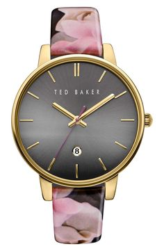 Obsessing over this Ted Baker watch from the Nordstrom Anniversary Sale! A floral printed leather strap paired with a classic round dial and gold details makes this beauty standout.