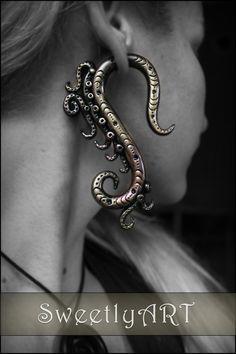 Fake gauge Earring tribal octopus tentacle steampunk black bronze metal look polymer clay trends 2014 summer festival - made to order  $20