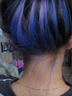 Blue and Purple Hair. Subtle when down. Dig it