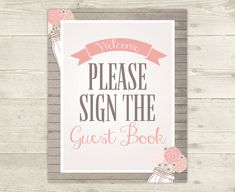 Girl Baby Shower  Guestbook Sign  Please Sign by CelebrateBabyCo