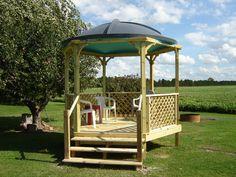 Gazebo - roof is an old 10 foot, fiberglass satellite dish.
