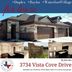 ‪#‎WaterfordVillage‬ New 3br, 2ba #duplex with a 2 car front entry, located two exits from #Baylor University, walking distance to Alta Vista Elementary, and ¼ mile from University High School. Property features tiled kitchen counters and back splash, kitchen island and breakfast bar with espresso cabinets. Tile flooring in the living room with full size washer and dryer included.
