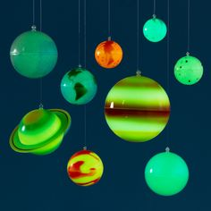 Kids' Banners & Hanging Décor: Kids Colorful Hanging Glow in the Dark Solar System Kit | The Land of Nod