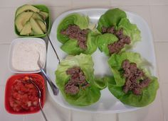 Eggface DIY Lettuce Cup Beef Tacos - Budget Friendly Weight Loss Surgery Low Carb - Another! Healthy Mexican Recipes, Healthy Dishes, Healthy Breakfast Recipes, Ground Beef Recipes, Pork Recipes, Diet Recipes, Talipia Recipes, Kohlrabi Recipes, Diet Aids