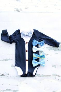 This Listing Includes: 1 Cardigan Bodysuit 1 Baby Bow Tie Bodysuit *************************************** Bodysuit Sizing Chart: Newborn Up to – 8 lb 3 Months and 8 - lb 6 Months – and – lb 9 Months – and – lb Tie Onesie, Onesies, Baby Boy Cardigan, Getting Ready For Baby, Cake Smash Outfit, 1st Birthday Outfits, New Baby Boys, Coming Home Outfit, Tie Set