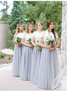 Custom Made Morden Bridesmaid Dress Long, Lace Party Dresses, Bridesmaid Dress Two Piece, Grey Party Dresses - Wedding XO - Wedding Dresses Light Grey Bridesmaid Dresses, Grey Party Dresses, Bridesmaid Separates, Tight Prom Dresses, Grey Bridesmaids, Tulle Bridesmaid Dress, Cheap Party Dresses, Wedding Party Dresses, Dress Party