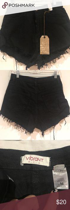 High waisted black cut off jean shorts NWT high waisted jean cut off shorts, size M Shorts Jean Shorts