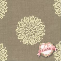 """Chateau Rouge 13624-14 Stone by French General for Moda Fabrics: Chateau Rouge is a beautiful collection by French General for Moda Fabrics. 100% cotton. 44/45"""". This fabric features a fancy circle design on a stone background."""