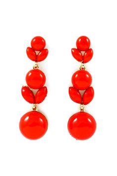 lovely red drop earrings.