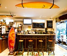 Your One-Stop Surf, Swimsuits and Coffee Shop in Bali: Drifter Surf Shop Surf Coffee, Bali, Surf Store, Surf House, Restaurants, Beach Cafe, Corner House, Cool Cafe, Store Design