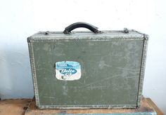 WWII MILITARY SUITCASE Navy Seapak Man's Vintage by EmporioX