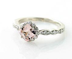 14K Asscher Morganite Diamond Engagement Ring Custom Bridal Jewelry. $995.00, via Etsy.