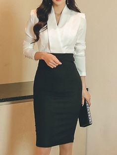 Black White Patchwork Buttons V-neck Long Sleeve Elegant Midi Dress - Elegant Outfit Business Outfit Frau, Business Outfits Women, Office Outfits Women, Mode Outfits, Fashion Outfits, Business Formal Women, Ladies Outfits, Business Casual, Dress Fashion