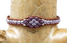 Purple Skinny Leather Wrap Bracelet - Superduo And Firepolish Boho Leather Bracelet -  Leather Bracelet For Women - Lavender Bracelet(SK15) by CinfulBeadCreations on Etsy
