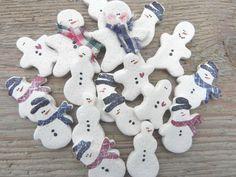 Mini Snowmen Salt Dough Ornament Supplies by cookiedoughcreations, $10.50