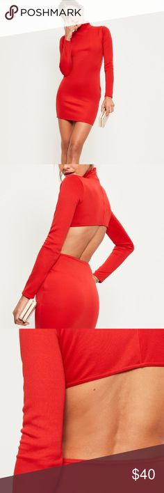 Red scuba high neck cut out back detail bodycon Really great dress, was very excited to wear it but the fit was too small and I waited too long to send it back. Size 8 but runs like a 2. Missguided Dresses Mini