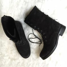 """All Saints Black Moto Boots All Saints black suede boots """"Military Trial Boot"""". New in box. Lace up and zipper in back for easy wear. Size 9.5 euro size 40. Combat/Moto boot style. Reasonable offers accepted, but please note that I will have to pay extra for shipping due weight so I can't negotiate much. No trades. All Saints Shoes Combat & Moto Boots"""