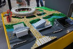 2012 olympic stadiums built with LEGO by Warren Elsmore - commissioned by the LEGO group and Visit Denmark to celebrate the london olympic games and to promote one of Denmarks' biggest exports- at Saint Katharine docks, London, july 2012