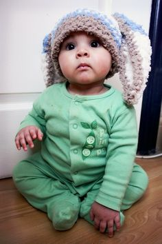 Preemie Premature Baby Boys Soft Crochet Flopsy Easter Bunny Rabbit Hat Sport Candy Stripe by daphne